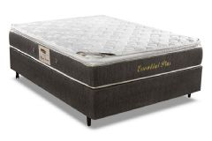 Conjunto Cama Box - Colchão Herval de Molas Pocket Essential Plus + Cama Box Universal Nobuck Black