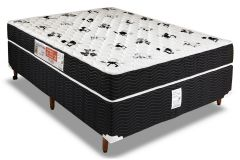 Conjunto Box - Colchão Orthoflex de Espuma D45 Comfortpedic Line + Cama Box Universal Couríno Black