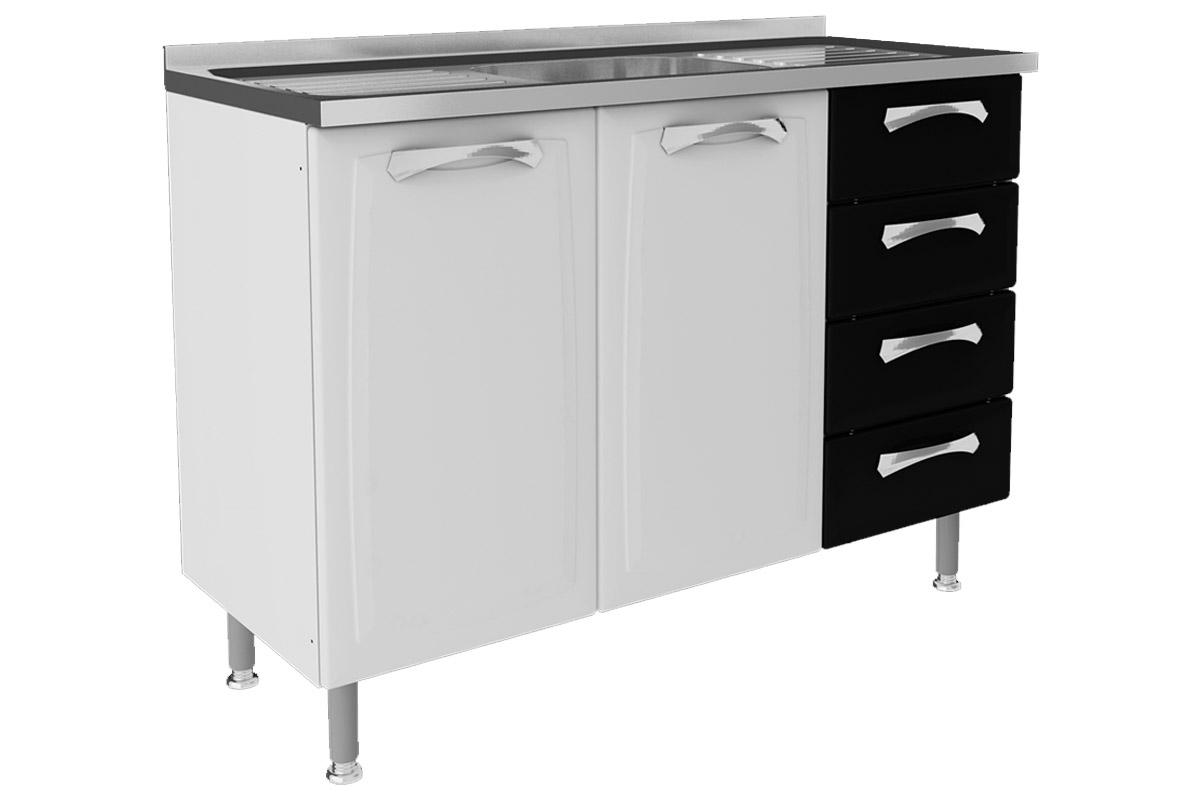 Gabinete (Balcão) de Cozinha Itatiaia Premium IG3G4 120 TL PIA Aço c  #666666 1200 800