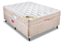 Conjunto Cama Box - Colchão Orthocrin de Molas Pocket Way + Cama Box Universal Couríno White