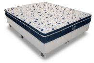 Conjunto Box - Colchão Ortobom de Molas Pocket Ventura Blue + Cama Box Universal Couríno White