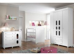 Quarto Infantil (Bebê) Completo Multimóveis Bala Plus QI22 (Guarda Roupa+Berço+Cômoda+Prateleira)