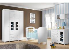 Quarto Infantil (Bebê) Completo Multimóveis Bom Bom Plus QI23 (Guarda Roupa+Berço+Cômoda+Prateleira)