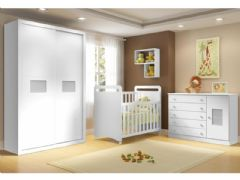 Quarto Infantil (Bebê) Completo Multimóveis Caramelo QI25 (Guarda Roupa+Berço+Cômoda+Prateleiras)