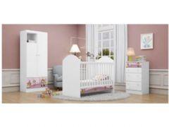 Quarto Infantil (Bebê) Completo Kappesberg Dreams QI48 (Guarda Roupa+Cômoda+Berço)