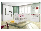 Quarto Infantil (Bebê) Completo Henn Maçã do Amor QI05 (Guarda Roupa+Berço+Cômoda)