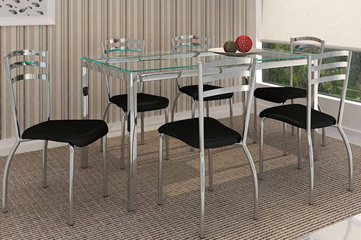 Conjunto Crome Mesa Reno M001 Com 6 Cadeiras Portugal Cromado Preto  #3D7D6F 1200 800