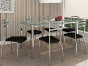 Conjunto Mesa de Jantar Kappesberg Cromada Reno c/ 6 Cadeiras Portugal e Tampo de Vidro 150cm  (Crome04)