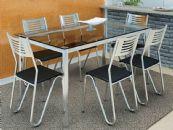 Conjunto Mesa de Jantar Kappesberg Cromada Reno c/ 6 Cadeiras Nápoles e Tampo de Vidro 150cm (Crome06)