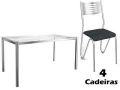 Conjunto Mesa de Jantar Kappesberg - Base Cromada Reno c/ Tampo de Vidro 150cm + 4 Cadeiras Nápoles