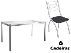 Conjunto Mesa de Jantar Kappesberg - Base Cromada Reno c/ Tampo de Vidro 150cm + 6 Cadeiras Itália