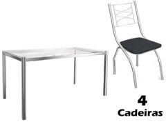 Conjunto Mesa de Jantar Kappesberg - Base Cromada Reno c/ Tampo de Vidro 150cm + 4 Cadeiras Itália