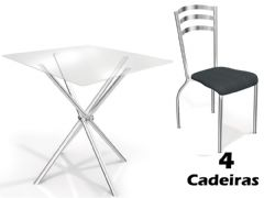 Conjunto Mesa de Jantar Kappesberg - Base Cromada Volga c/ Tampo de Vidro 90cm + 4 Cadeiras Portugal