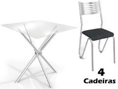 Conjunto Mesa de Jantar Kappesberg - Base Cromada Volga c/ Tampo de Vidro 90cm + 4 Cadeiras Nápoles