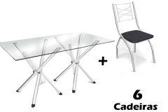 Conjunto Mesa de Jantar Kappesberg - Base Cromada Volga c/ Tampo de Vidro 150cm + 6 Cadeiras Itália