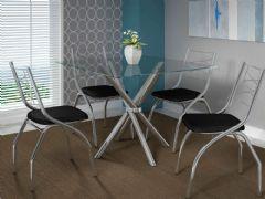 Conjunto Mesa de Jantar Kappesberg - Base Cromada Volga c/ Tampo de Vidro 90cm + 4 Cadeiras Itália