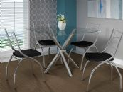 Conjunto Mesa de Jantar Kappesberg Cromada Volga c/ 4 Cadeiras Itália  e Tampo de Vidro 90cm (CROME15)