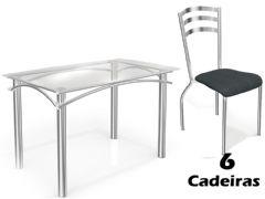 Conjunto Mesa de Jantar Kappesberg - Base Cromada Elba c/ Tampo de Vidro 150cm + 6 Cadeiras Portugal