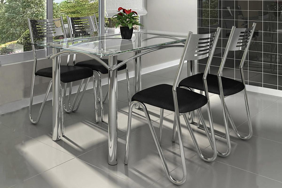 Conjunto mesa de jantar kappesberg base cromada elba c for Bases de mesas cromadas