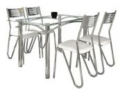 Conjunto Mesa de Jantar Kappesberg Cromada Elba c/ 4 Cadeiras Nápoles Vidro e Tampo de Vidro 140cm (CROME17)