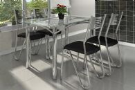 Conjunto Mesa de Jantar Kappesberg - Base Cromada Elba c/ Tampo de Vidro 140cm + 4 Cadeiras Nápoles