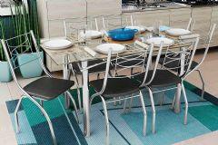 Conjunto Mesa de Jantar Kappesberg - Base Cromada Elba c/ Tampo de Vidro 150cm + 6 Cadeiras Itália