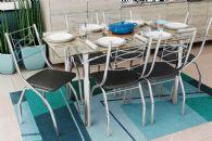 Conjunto Mesa de Jantar Kappesberg - Base Cromada Elba c/ Tampo de Vidro 140cm  + 4 Cadeiras Itália