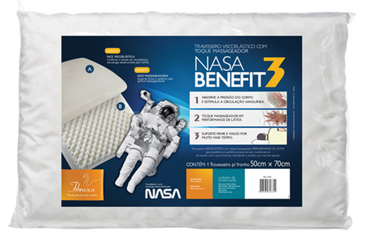 Travesseiro Fibrasca Nasa Benefit 3 Viscoelástico Massageador p/Fronha 50x70