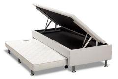 Bicama Box Baú  Ortobom Solteiro c/ Auxiliar Courino Bianco (Obrigatório a compra Cama Baú + Auxiliar)