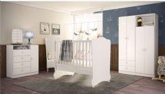 Quarto Infantil (Bebê) Completo Art In Móveis Meu Fofinho QI41 (Guarda Roupa+Berço+Cômoda)