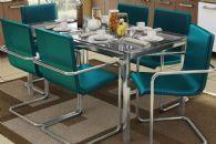 Conjunto Mesa de Jantar Kappesberg - Base Cromada Reno c/ Tampo de Vidro 150cm + 6 Cadeiras Suécia