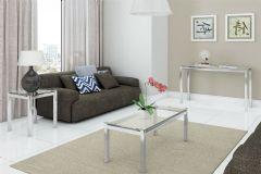 Conjunto Sala de Estar Kappesberg Cromada (Mesa de Canto+Mesa de Centro+Aparador) SE01
