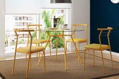 Conjunto Mesa de Jantar Carraro - Base Amarelo Ouro 1527 c/ Tampo de Vidro 105cm + 4 Cadeiras 1708 Color
