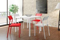 Conjunto Mesa de Jantar Carraro - Base Branca 1525 c/ Tampo Madeirado Branco + 4 Cadeiras 1709 Color