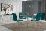 Conjunto Mesa de Jantar Carraro - Base Cromada 1512 c/ Tampo de Vidro 160cm + 6 Cadeiras 1800