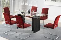 Conjunto Mesa de Jantar Carraro - Base Cromada 1400 c/ Tampo de Vidro 160cm + 6 Cadeiras 1801 Cromada