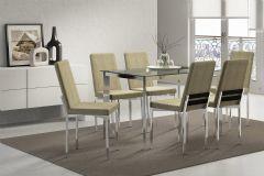 Conjunto Mesa de Jantar Carraro - Base Cromada 1513 c/ Tampo de Vidro 120cm + 6 Cadeiras 399 Cromada