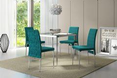 Conjunto Mesa de Jantar Carraro - Base Cromada 1514 c/ Tampo de Vidro 95cm + 4 Cadeiras 306 Cromada
