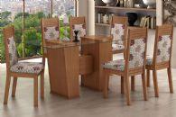 Conjunto Mesa de Jantar Lopas - Base Madeirado Verona  c/ Tampo de Vidro 180cm + 6 Cadeiras Verona