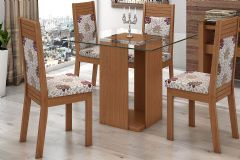 Conjunto Mesa de Jantar Lopas - Base Madeirado Dubai c/ Tampo de Vidro 100cm + 4 Cadeiras Verona