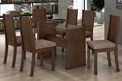 Conjunto Mesa de Jantar Lopas - Base Madeirado Barcelona c/ Tampo de Vidro 160cm + 6 Cadeiras Hanôver