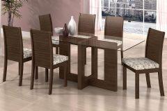 Conjunto Mesa de Jantar Lopas - Base Madeirado Florença c/ Tampo de Vidro 180cm + 6 Cadeiras Florença