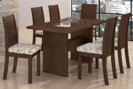 Conjunto Mesa de Jantar Lopas - Base Madeirado Sâmara New c/ Tampo Madeirado c/ Vidro 160cm + 6 Cadeiras Florença