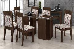 Conjunto Mesa de Jantar Lopas - Base Madeirado Dupla Dubai c/ Tampo de Vidro 180cm + 6 Cadeiras Verona
