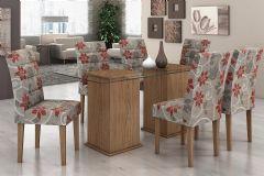 Conjunto Mesa de Jantar Lopas - Base Madeirado Dupla Caribe c/ Tampo de Vidro 180cm + 6 Cadeiras Fiorella