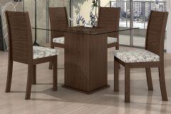 Conjunto Mesa de Jantar Lopas - Base Madeirado Caribe c/ Tampo de Vidro 100cm + 4 Cadeiras Florença