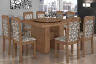 Conjunto Mesa de Jantar Lopas - Base Madeirado Iracema c/ Tampo Madeirado Giratório 140cm + 6 Cadeiras Pérola