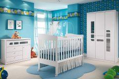Quarto Infantil (Bebê) Completo Henn Maçã do Amor QI06 (Guarda Roupa+Berço+Cômoda)