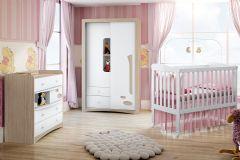 Quarto Infantil (Bebê) Completo Henn Favo de Mel QI08 (Guarda Roupa+Berço+Cômoda)