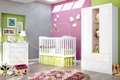 Quarto Infantil (Bebê) Completo Henn Sonho Encantado QI13 (Guarda Roupa+Berço+Cômoda)